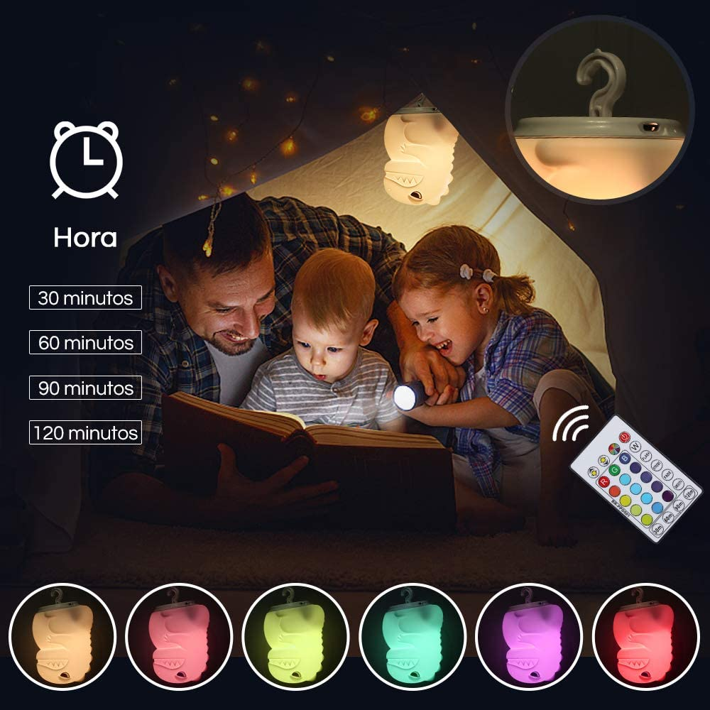 con Sensor T/áctil Luz Nocturna Recargable Port/átil Regalos para Ni/ños Anpro Luz de Noche Infantil Dinosaurio,Funci/ón de Sincronizaci/ón del Cintur/ón de 16 Colores