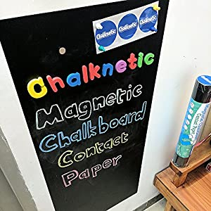 "Chalknetic Magnetic Chalkboard Contact Paper, 39"" x 18"", Homeschool Supplies, ABC Letters Learning Storytelling Board, Magnetic Bulletin Board, DIY Chore Chart Calendar for Toddlers Kids Child"