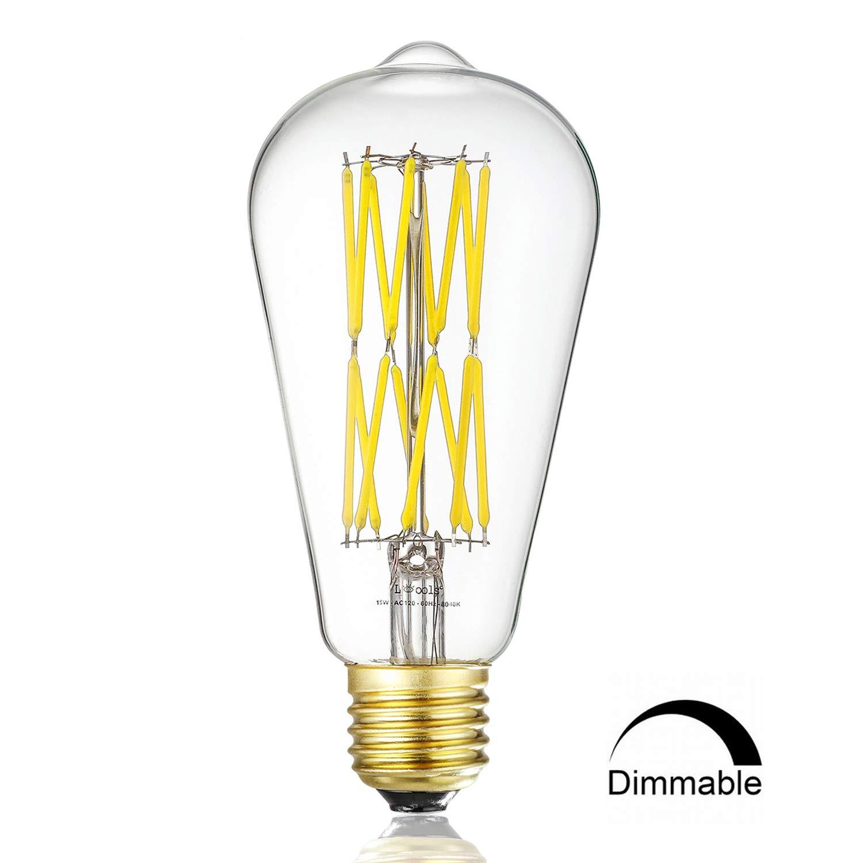 Leools LED Edison Bulb 15W,Dimmable Neutral White 4000K 1200LM, E26 Medium Base Lamp, ST21 (ST64) Antique Style Shape, 100-120W Incandescent Replacement, 1 Pack