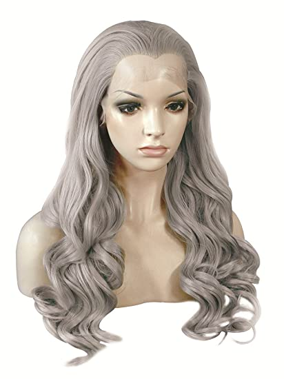 Imstyle Cosplay Drag Queen color gris Natural Lace Front Peluca Resistente Al Calor Largo cuerpo Wavy