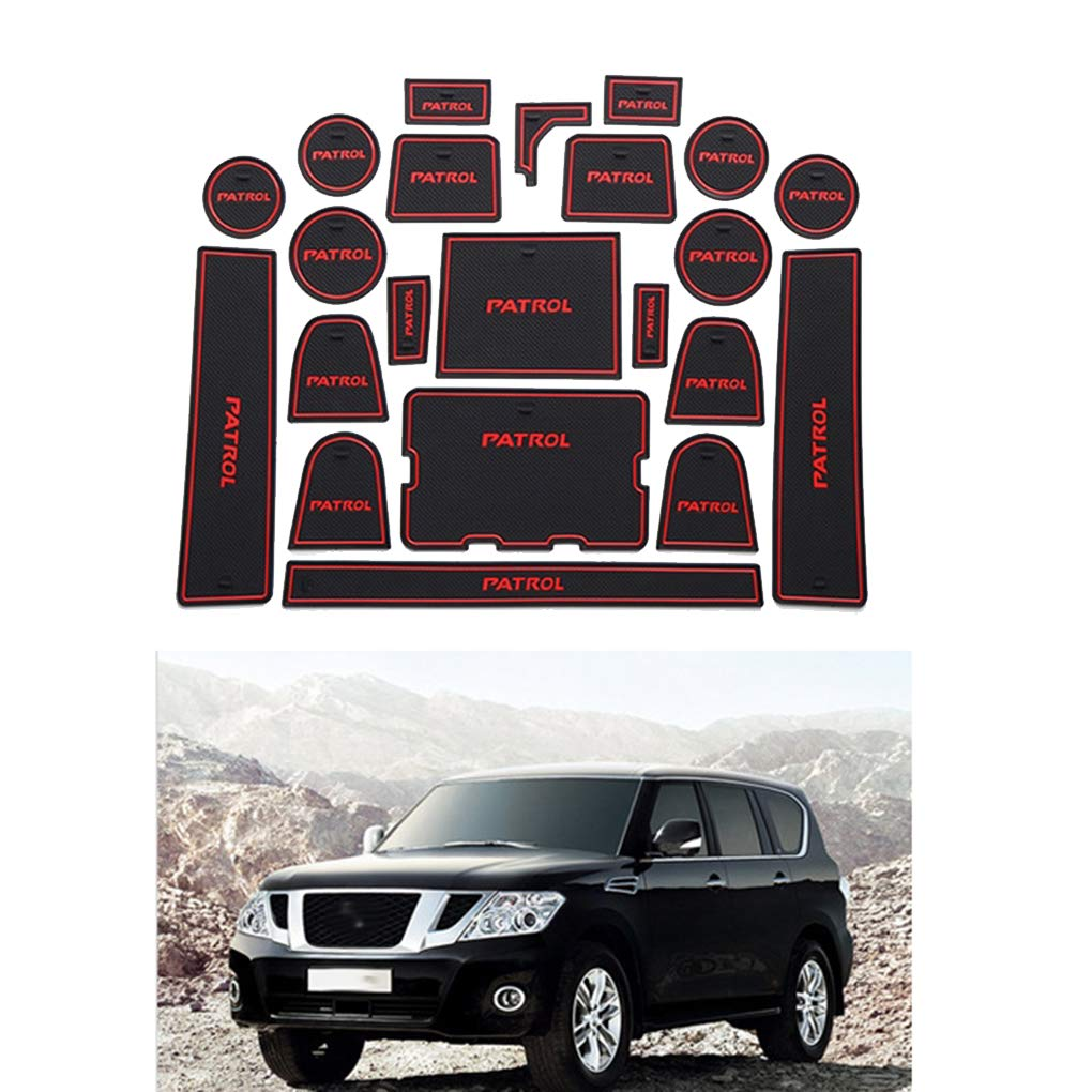 Republe 22pcs//set Car Door Slots Pad Gate Armrest Storage Grooves Mat Replacement For Nissan Patrol Y62 2017