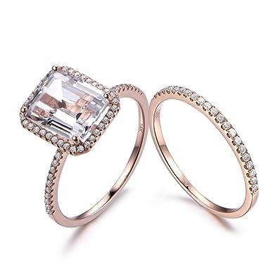 Fine Jewelry Jewelry & Watches Reliable Solid 18k White Gold Natural Diamonds Jewelry Wedding White Topaz Gemstone Ring