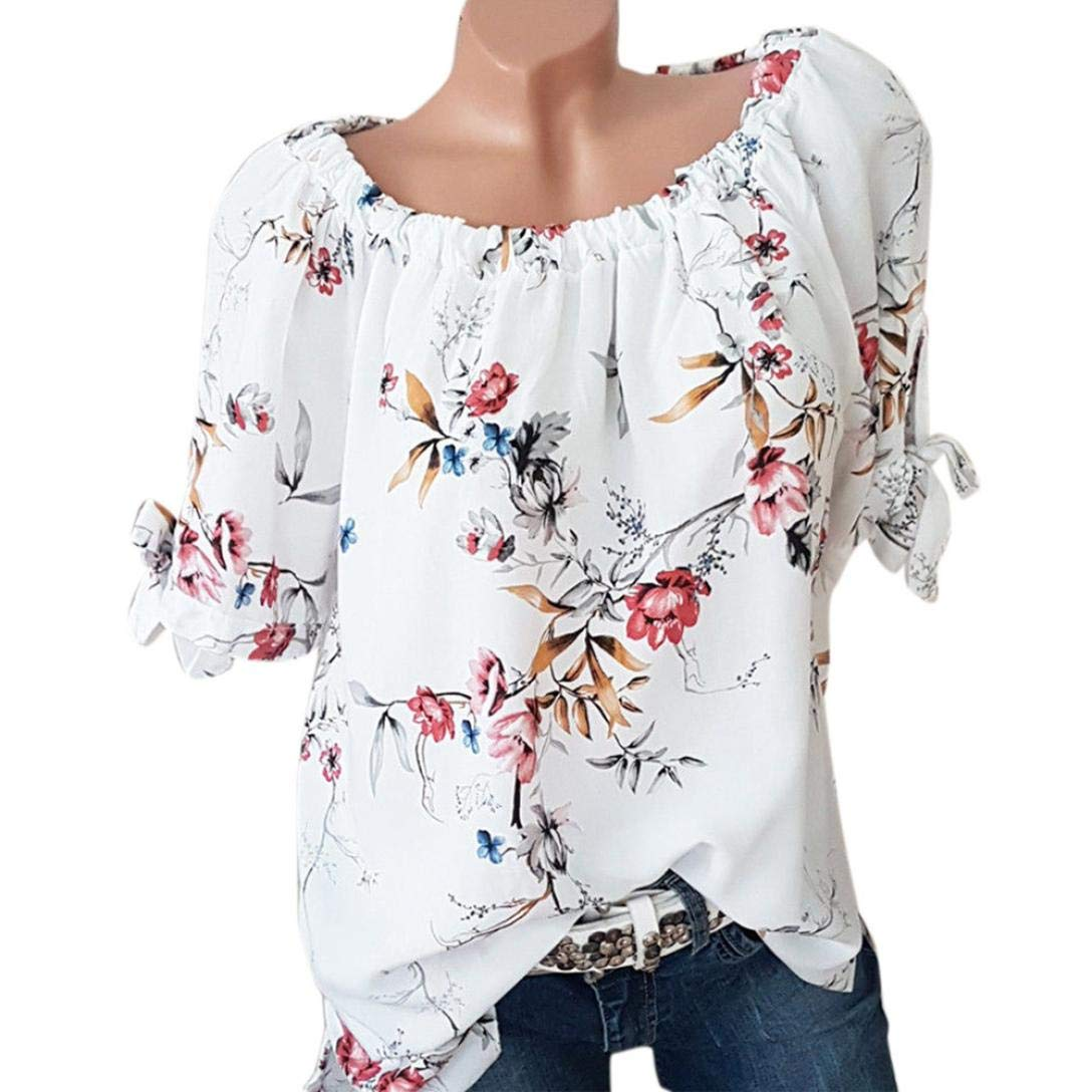 Women Chiffon Button Top Casual Floral Printed T-Shirt Irregular Hem Blouse White