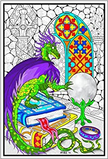 Amazon.com: Dragon - Giant 22 X 32.5 Inch Line Art Coloring Poster ...