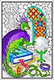 Stuff2Color Dragon Crystal Ball - 22x32.5 Giant Line Art Coloring Poster