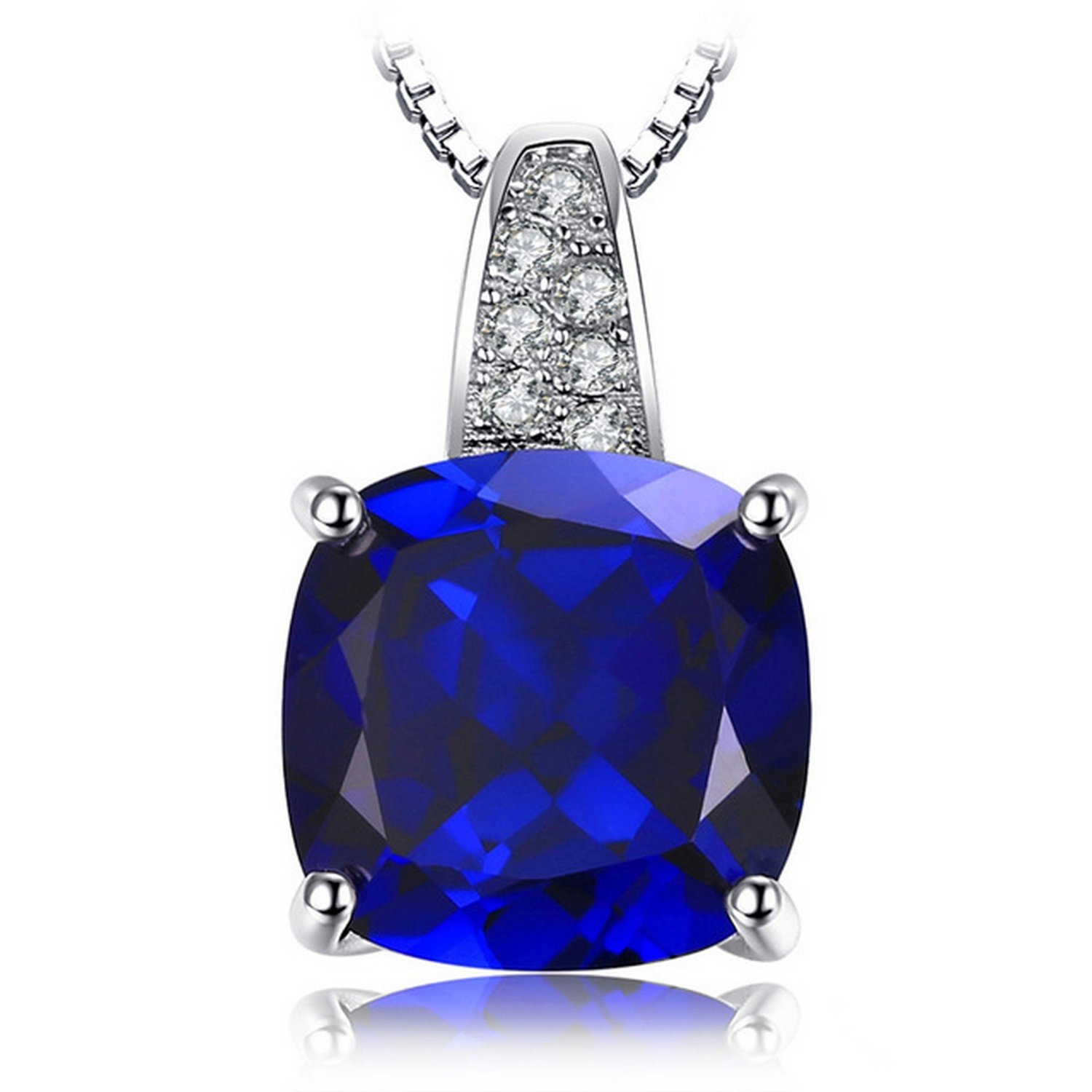 CS-DB Jewelry Silver 4.9ct Created Blue Sapphire Solitaire Chain Charm Pendants Necklaces
