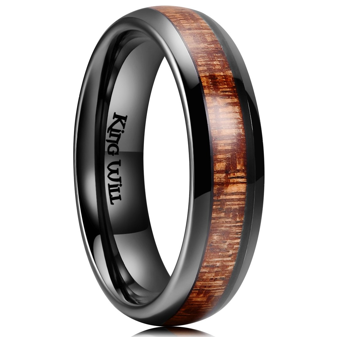 King Will NATURE 6mm Black Domed Koa Wood Ceramic Ring Wedding Band Polished Finish Comfort Fit OY-CRM001
