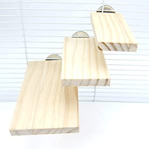 Alfie Pet - Caleb 3-Piece Set Wood Platform for Mouse, Chinchilla, Rat, Gerbil and Dwarf Hamster