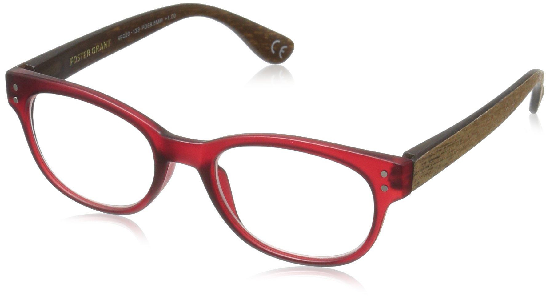 Foster Grant Women's Rosemary 1017556-150.COM Round Reading Glasses, Wine, 1.5