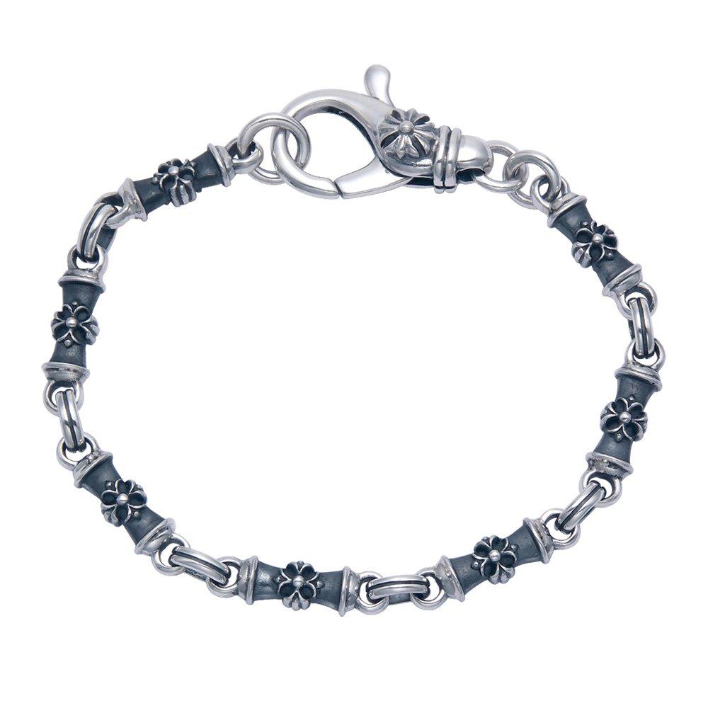 Oxidized Sterling Silver Cross Bracelet 8.5'' Long