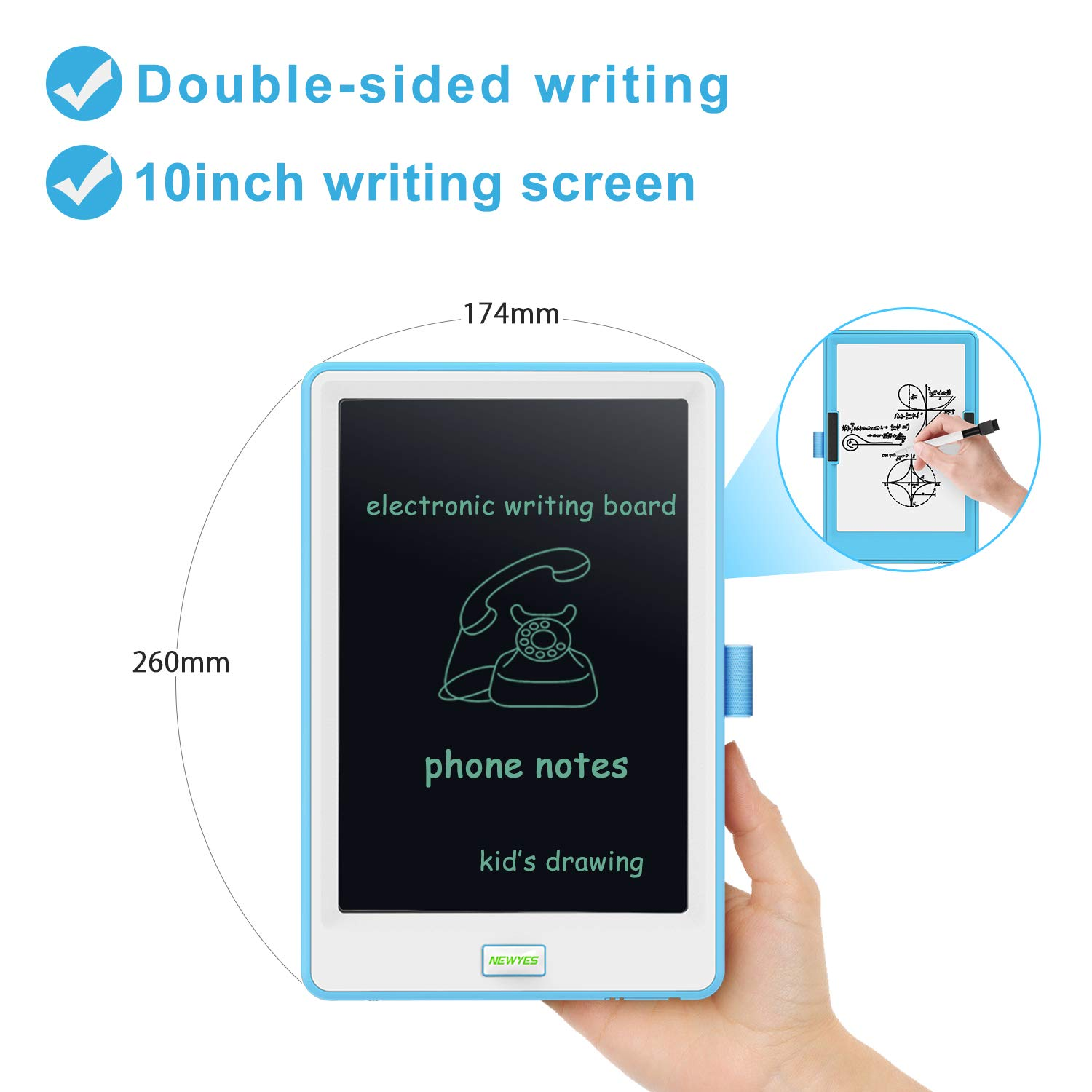 10 Inch LCD Writing Tablet Blue School and Office with Lock Erase Button WOBEECO Electronic Drawing Tablet Kids Tablets Doodle Board Writing Pad for Kids and Adults at Home