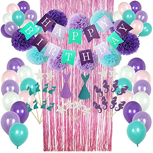 Mermaid Party Supplies - 77 Pack Mermaid Birthday Party Decorations for Girls Birthday Party Baby Shower Bridal Shower Decorations Little Mermaid Party Under the Sea Ariel Birthday Party - Premium Quality with extra added Bonus ( -