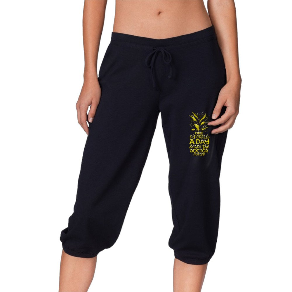 One Pineapple A Day Quote2 Women's Casual Elastic Waist Capri Pants