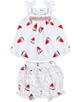 BOBORA Toddler Baby Girls Pants Outfits Watermelon Pattern Sleeveless Romper + Shorts
