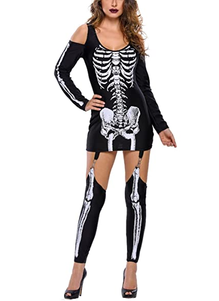 Women u0027s Halloween Costume Black Sexy Hollow Skeleton Catsuit One Piece Dress (Small  sc 1 st  Amazon.com & Amazon.com: Women u0027s Halloween Costume Black Sexy Hollow Skeleton ...