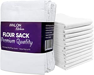 Avalon Kitchen Flour Sack Kitchen Dish Towels – 28x28 inches Value Pack of 15 – Made from 100% Ring-Spun Cotton – Lint Free with High Absorbency and Durability. for Multipurpose use in Kitchen