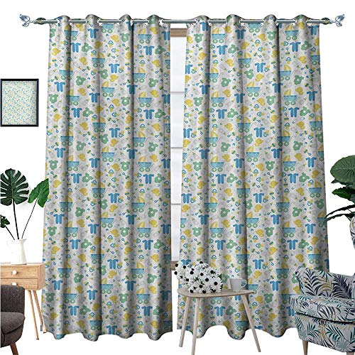 Baby Blackout Window Curtain Retro Newborn Items Stroller Rubber Duck Milk Bottle Pin Pyjamas Pattern Customized Curtains W120 x L84 Blue Yellow Mint Green ()