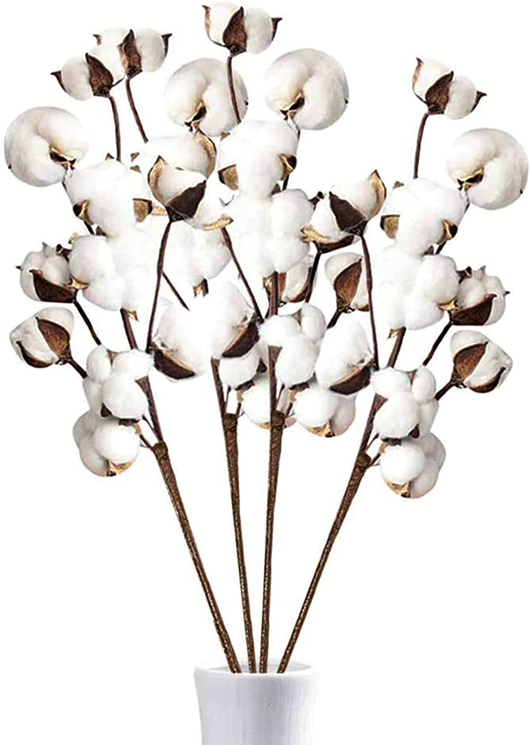 Dshengoo 4 Pcs Cotton Stems,Artificial Cotton Branche with 10 Balls,Farmhouse Decor Cotton Floral,Fall Decoration Cotton Picks for Home Wedding Party