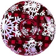 """Pipeline Sno Red Hot Plaid Inflatable 2 Person Snow Tube with 4 Grip Handles, 48"""" Inch Diameter"""