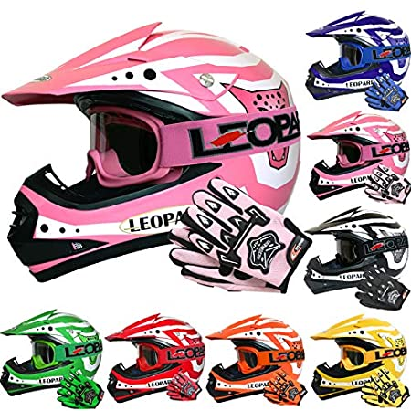 Leopard LEO-X17 Children Kids Motocross Dirt Bike Off Road Motorbike Helmet & Gloves & Goggles - Orange M (51-52cm) Touch Global Ltd