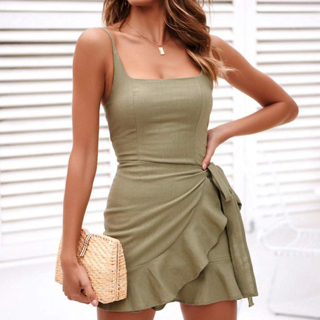 DressLksnf Falda de Tirante Moda de Mujer Vestido Color Puro Vestido Ajuste Elegante Original Blusa Bonita Prenda Casual Secci/ón Corta con Volante
