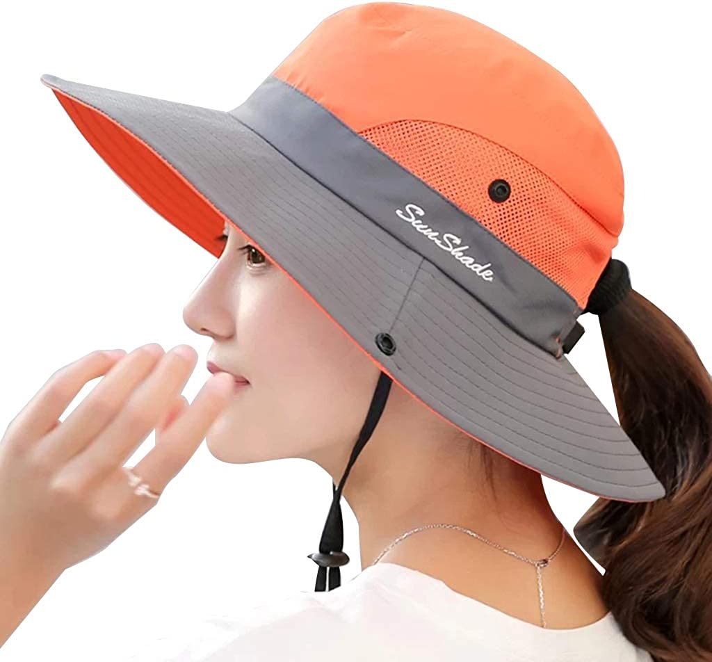 EAPTS Women Outdoor UV Protection Wide Brim Foldable Beach Bucket Hat Mesh Patchwork Contrast Color Ponytail Fishing Cap Chin Strap
