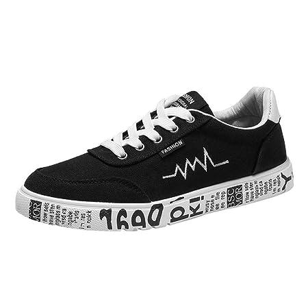 WWricotta LuckyGirls Zapatillas Lona de Correr Hombre Estampado Casual Cómodas Calzado de Deporte Transpirables Zapatos Planos Bambas de Running con ...
