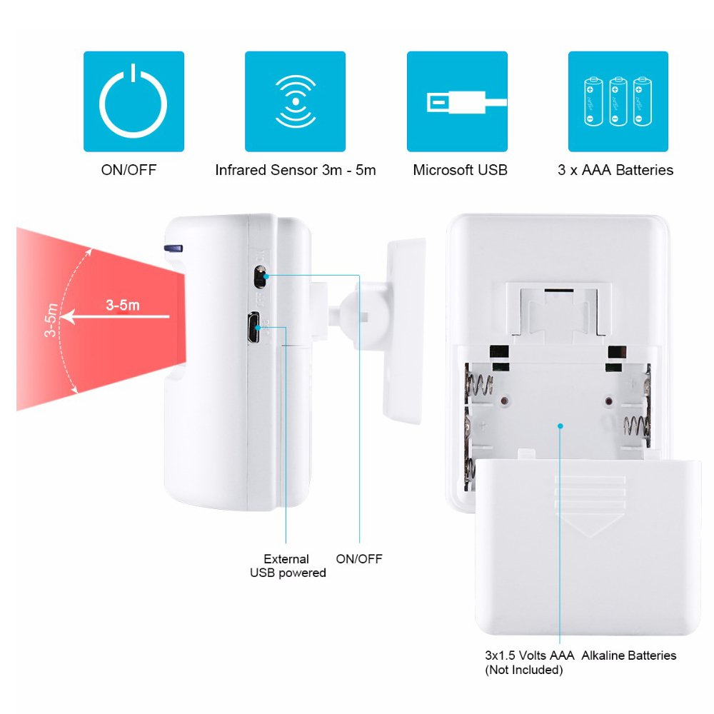 Outdoor Store Hotel Door Entry Alert Sensor Chime for Business with 1 Plug-in Receiver and 2 PIR Motion Detector Alert Wireless Home Security Driveway Motion Sensor Alarm Kit