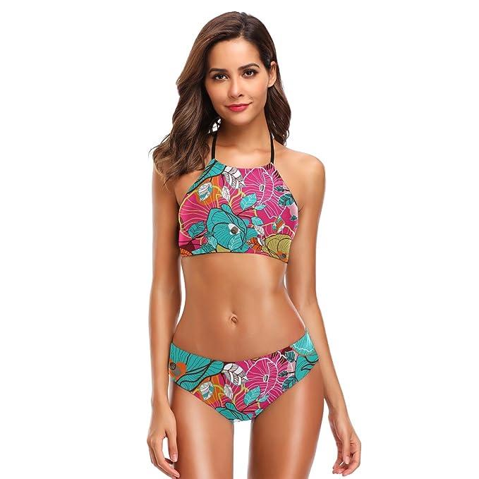 d9281354c2 Amazon.com  LORVIES Womens Colorful Floral Texture Bikini Set High Neck  Halter Bikini Swimsuit Two Piece Bathing Suits  Clothing