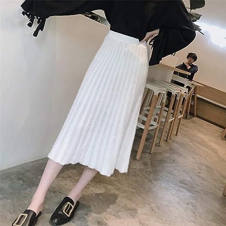 LLFUSM Seda Brillante Punto Media Falda/Falda Mujer Otoño Cintura ...