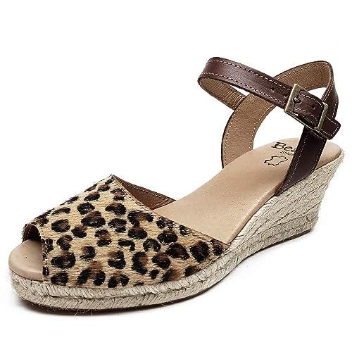 Beatria - Sandalias Cuña Esparto 5 Cuerdas Animal Print Leopardo Mujer: Amazon.es: Zapatos y complementos