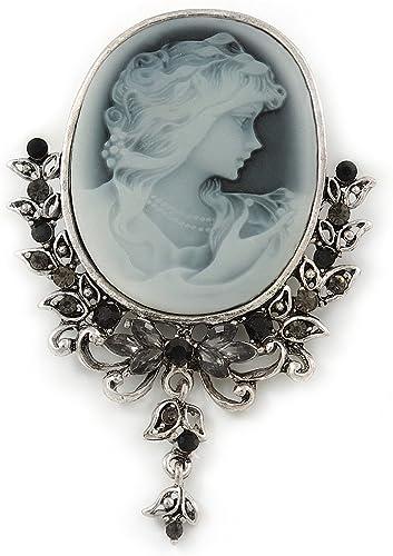 Vintage Inspired Diamante Charm Grey Cameo Brooch//Pendant In Antique Silver Meta