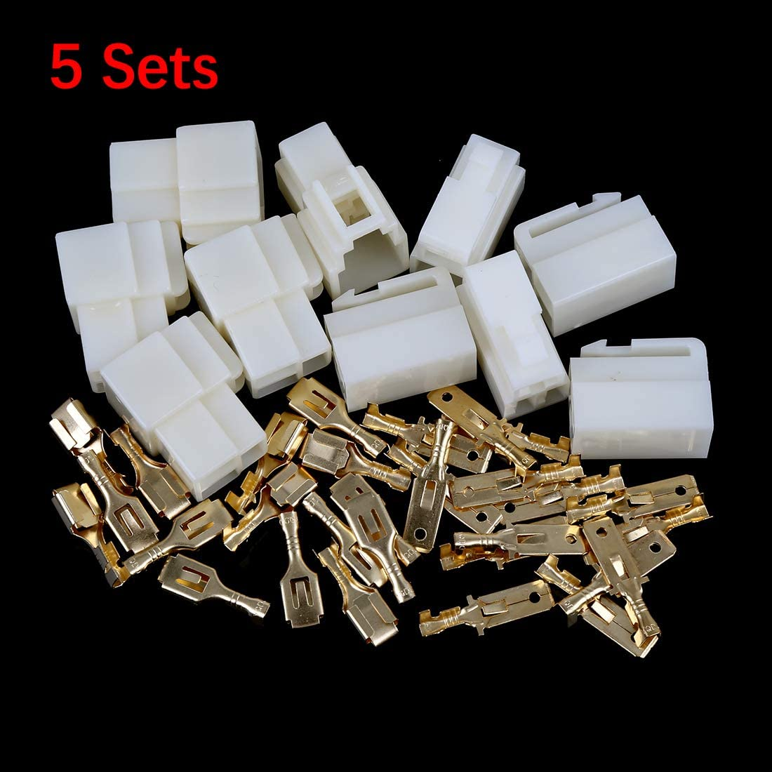 X AUTOHAUX 5 Sets 6.3mm 4 Pin Car Electrical Wire Connector Male Female Terminal Housing