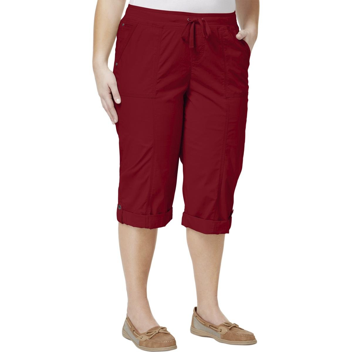 Style & Co. Womens Plus Flat Front Pull On Skimmers Red 22W
