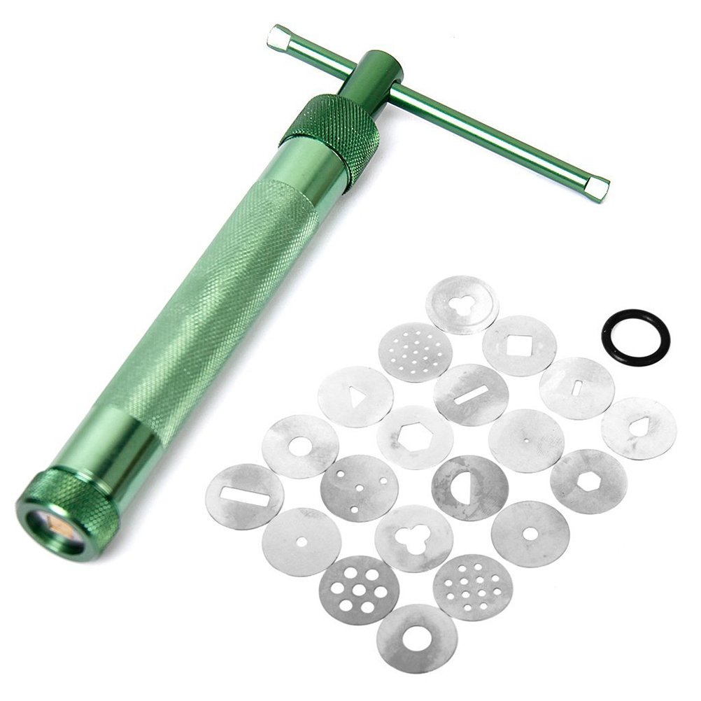 Pixnor 20 Pcs Stainless Steel Green Crowded Mud Machine Polymer Clay Fimo Extruder Craft Gun Cake Fondant Sculpture Decorating Tool Set