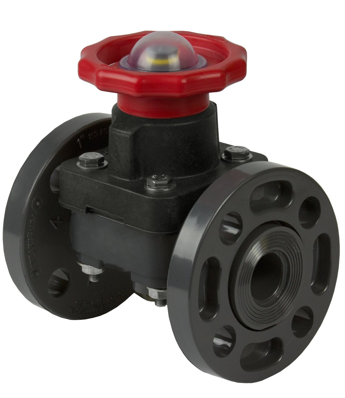 Spears 2723-025 PVC Schedule 80 Diaphragm Valve, Flanged, EPDM, 2-1/2-Inch