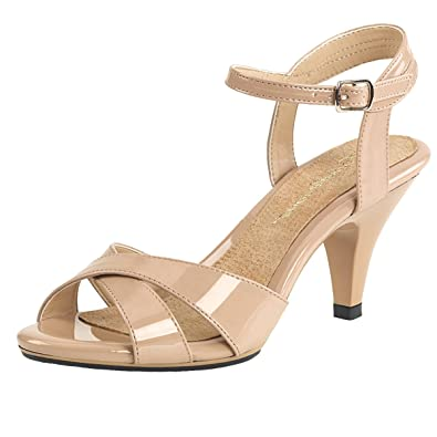 Nudefarbene Lack-Sandaletten (37 Billig Verkauf Komfortabel uid4D2YZ