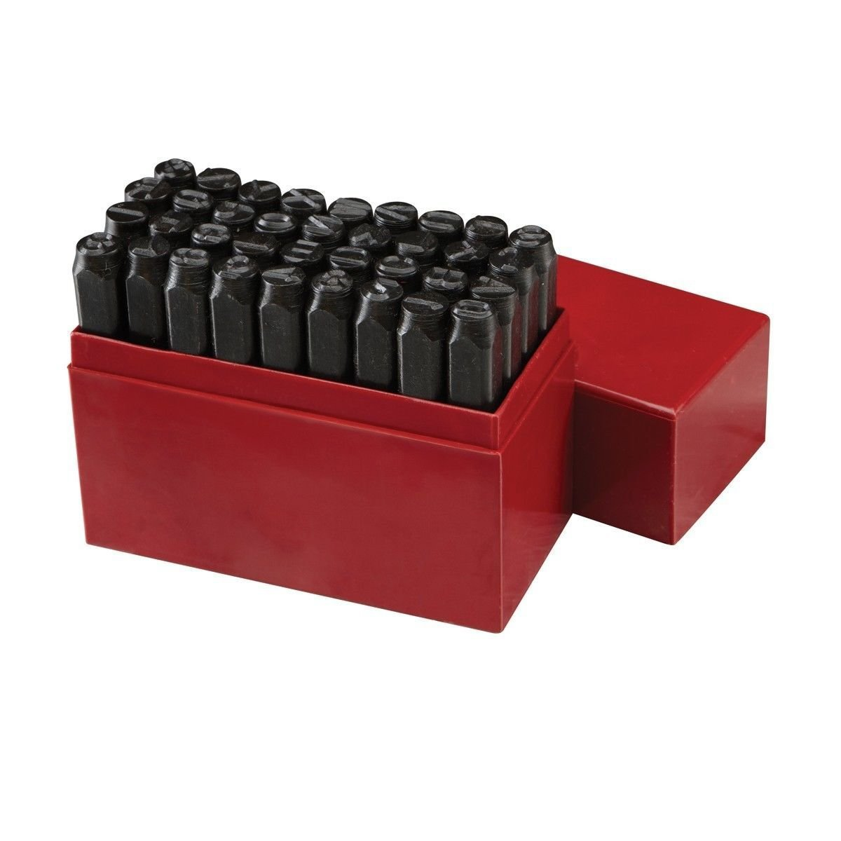 ESKALEX>>36pc 3/8'' STEEL METAL PUNCH LETTER & NUMBER STAMP STAMPING KIT SET PLASTIC CASE And 3/8'' A-Z, 0-8 (Turn 6 Upside Down for 9) >>10mm/3/8 Shaft>>Drop Forged, Heat Treated 45# Steel>>Ideal