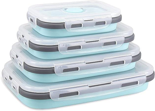 DUBENS - Recipientes de Silicona Plegables para conservar Alimentos, congelar y Calentar, Fiambrera para el Almuerzo, microondas, lavavajillas, congelador y Horno: Amazon.es: Hogar
