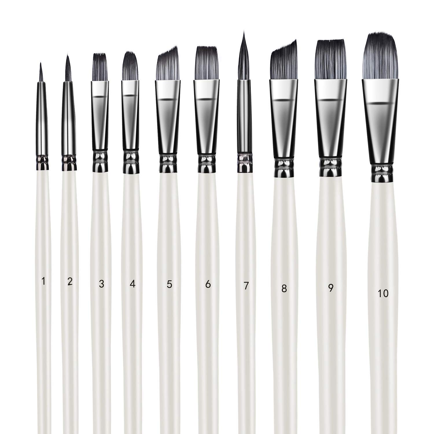 Artist Brush Set Xpassion Handmade Professional Acrylic Paint Brushes 10Pieces for Acrylic Watercolor Oil Painting, Pearl White