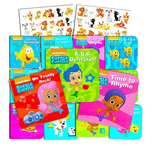 Nick Jr Bubble Guppies Board Books Set for Toddlers Babies Kids - Pack of 12 My First Books with Bonus Stickers! (ABCs, Numbers, Rhyming and More!)