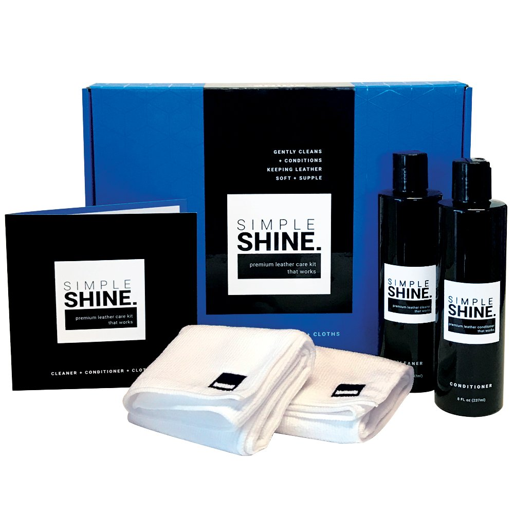 Premium Leather Shoe Cleaner and Conditioner Cleaning Kit | Cloths for Restore, Protect and Care by Simple Shine (Image #1)