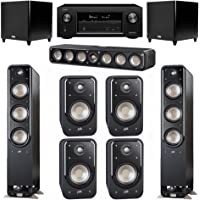 Polk Audio Signature 7.2 System with 2 S60 Tower Speaker, 1 Polk S35 Center Speaker, 4 Polk S20 Bookshelf Speaker, 2 Polk DSW PRO 660 wi Subwoofer , 1 Denon AVR-X2300W AV Receiver