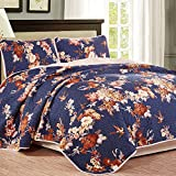 NTBAY 3 Pieces Reversible Coverlet Set Floral Printed Quilt Sets(Queen, Navy blue)