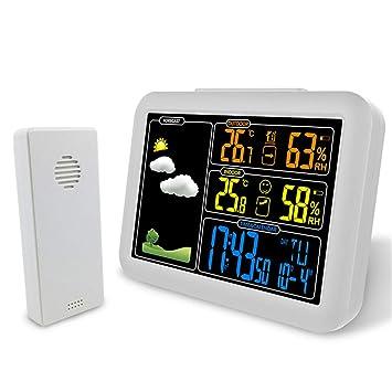 ZNHL Reloj Despertador Digital, estación meteorológica con Cargador USB Termómetro Exterior para Interiores, función de repetición Pantalla en Color Relojes ...