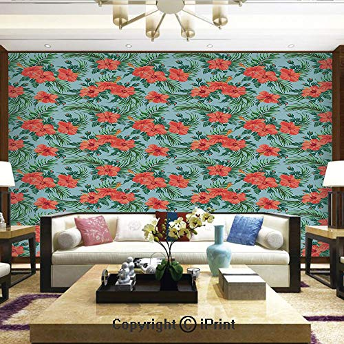 Lionpapa_mural Removable Wall Mural Ideal to Decorate Bedroom,or Office,Exotic Summer Bouquet Design with Hibiscus Flourish Aloha Botanical Decorative,Home Decor - 100x144 inches