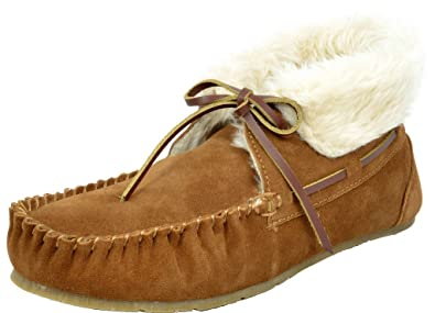 09a26406e DREAM PAIRS Women's Shozie-02 Chesnut Faux Fur Slippers Loafers Flats  Booties - 5 M