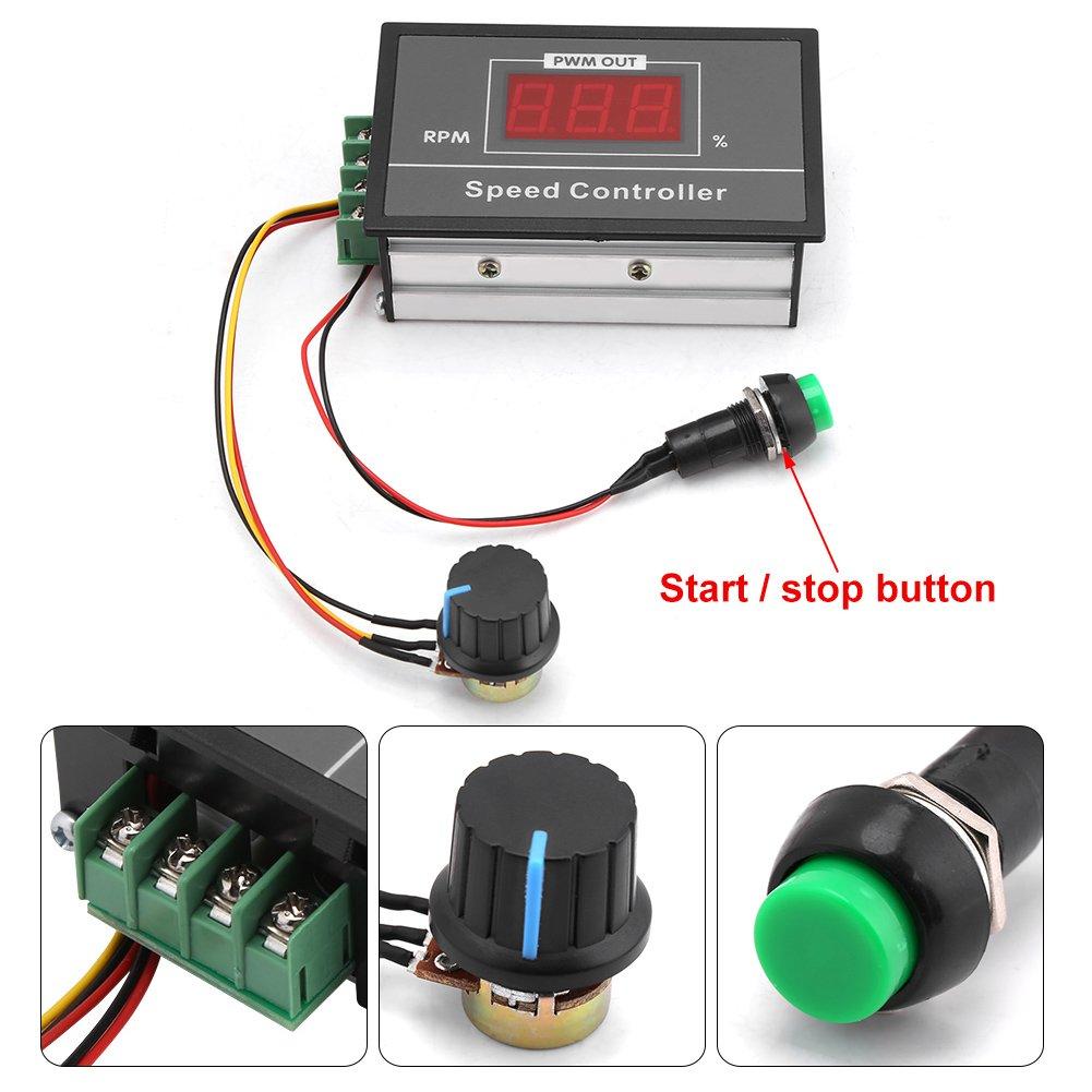 Mit kurzzeitigen Start Stop Schalter und Digitalanzeige DC 6-60 V 12 V 24 V 36 V 48 V 30A Geschwindigkeitsregler,PWM DC-Motordrehzahlregler Geschwindigkeit Einstellbare Stufenlose Regler