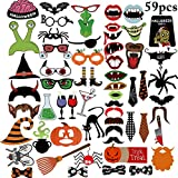 Aniwon 59PCS Halloween Photo Booth Prop Set Creative DIY Photo Stick Props Party Favors for Halloween Party Decorations