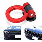 iJDMTOY Red Universal Ring Track Racing Style Tow Hook Aesthetic Decoration Kit Compatible With Any Car SUV Truck (Not Functi